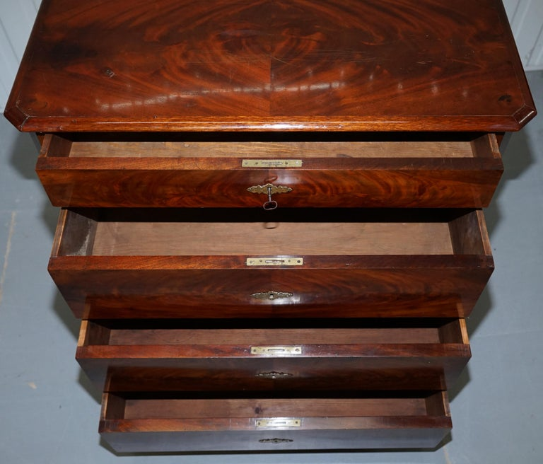 Stunning Biedermeier Flamed Mahogany Small Chest of Drawers Rare Find circa 1820 For Sale 11