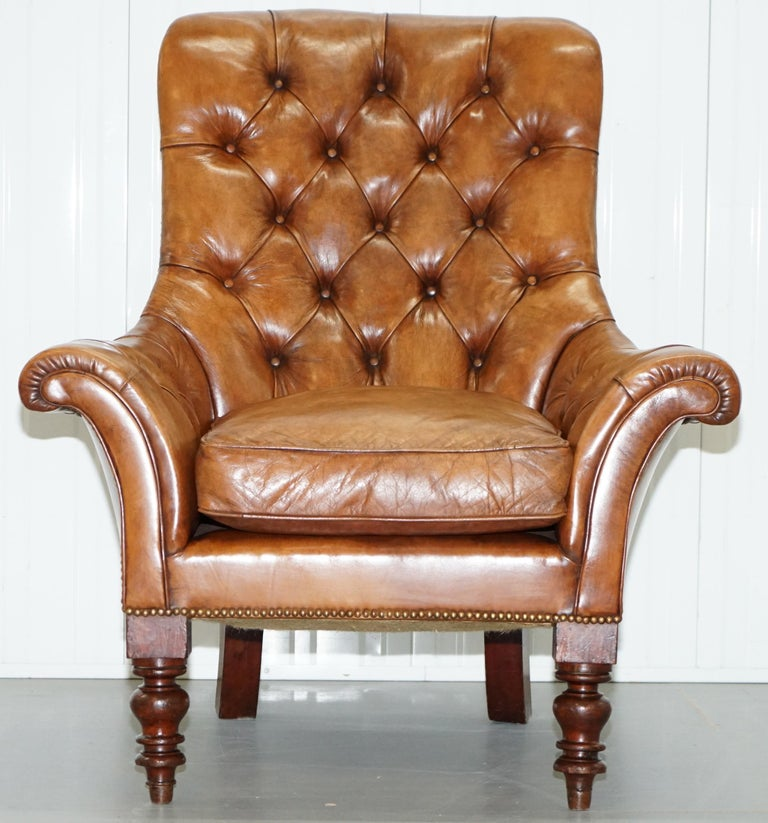 We are delighted to offer for sale this stunning oversized original Victorian Chesterfield hand dyed brown leather library reading armchair