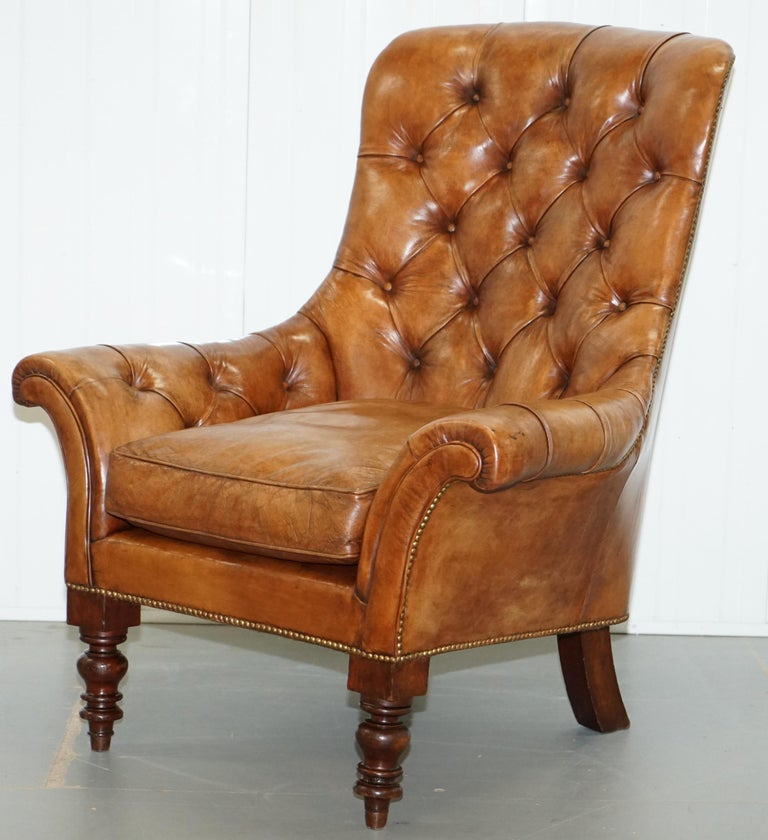 English Huge Restored Chesterfield Aged Brown Leather Victorian Library Reading Armchair For Sale