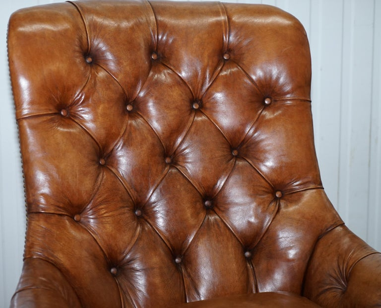 Hand-Crafted Huge Restored Chesterfield Aged Brown Leather Victorian Library Reading Armchair For Sale