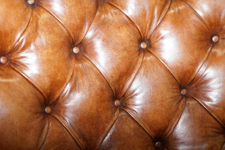 Huge Restored Chesterfield Aged Brown Leather Victorian Library Reading Armchair In Good Condition For Sale In London, GB