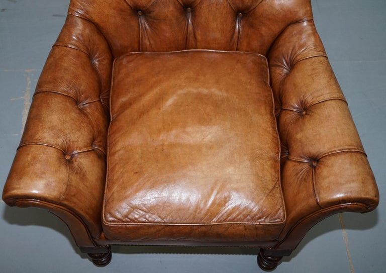 20th Century Huge Restored Chesterfield Aged Brown Leather Victorian Library Reading Armchair For Sale