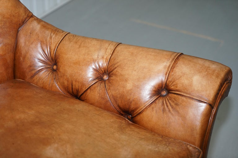 Huge Restored Chesterfield Aged Brown Leather Victorian Library Reading Armchair For Sale 1