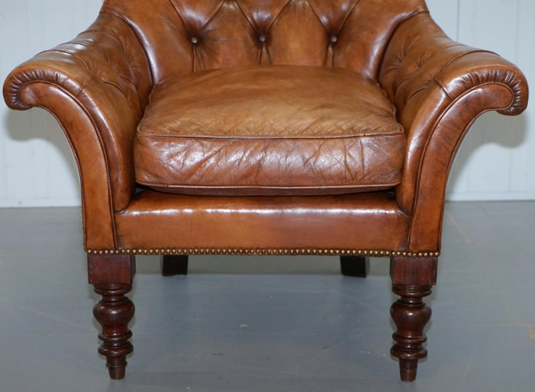 Huge Restored Chesterfield Aged Brown Leather Victorian Library Reading Armchair For Sale 2