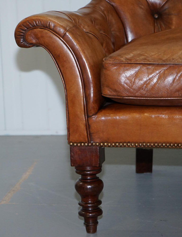 Huge Restored Chesterfield Aged Brown Leather Victorian Library Reading Armchair For Sale 3