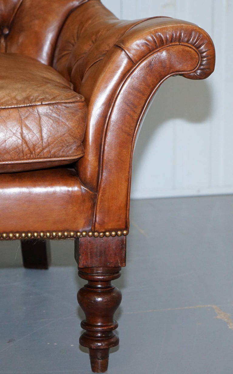 Huge Restored Chesterfield Aged Brown Leather Victorian Library Reading Armchair For Sale 5