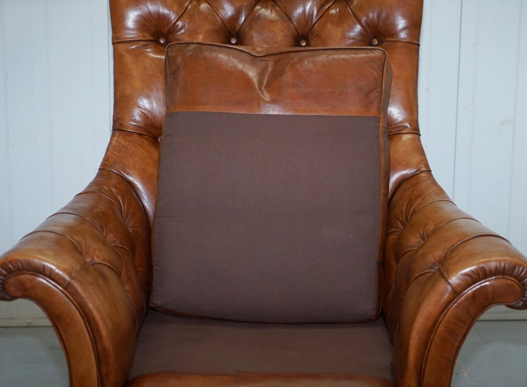Huge Restored Chesterfield Aged Brown Leather Victorian Library Reading Armchair For Sale 6