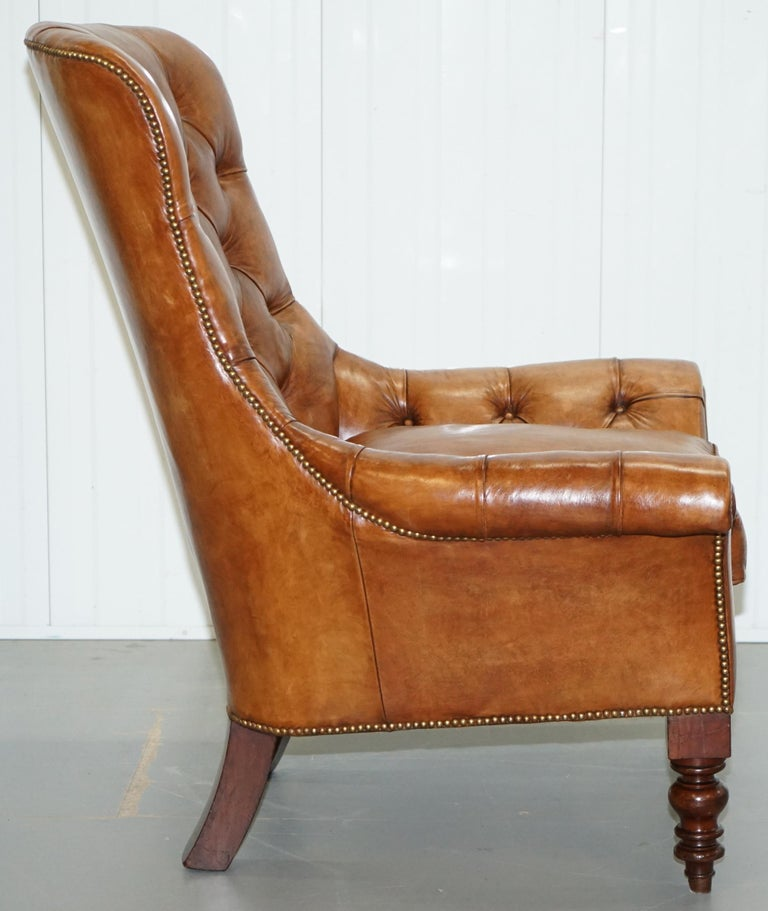 Huge Restored Chesterfield Aged Brown Leather Victorian Library Reading Armchair For Sale 7