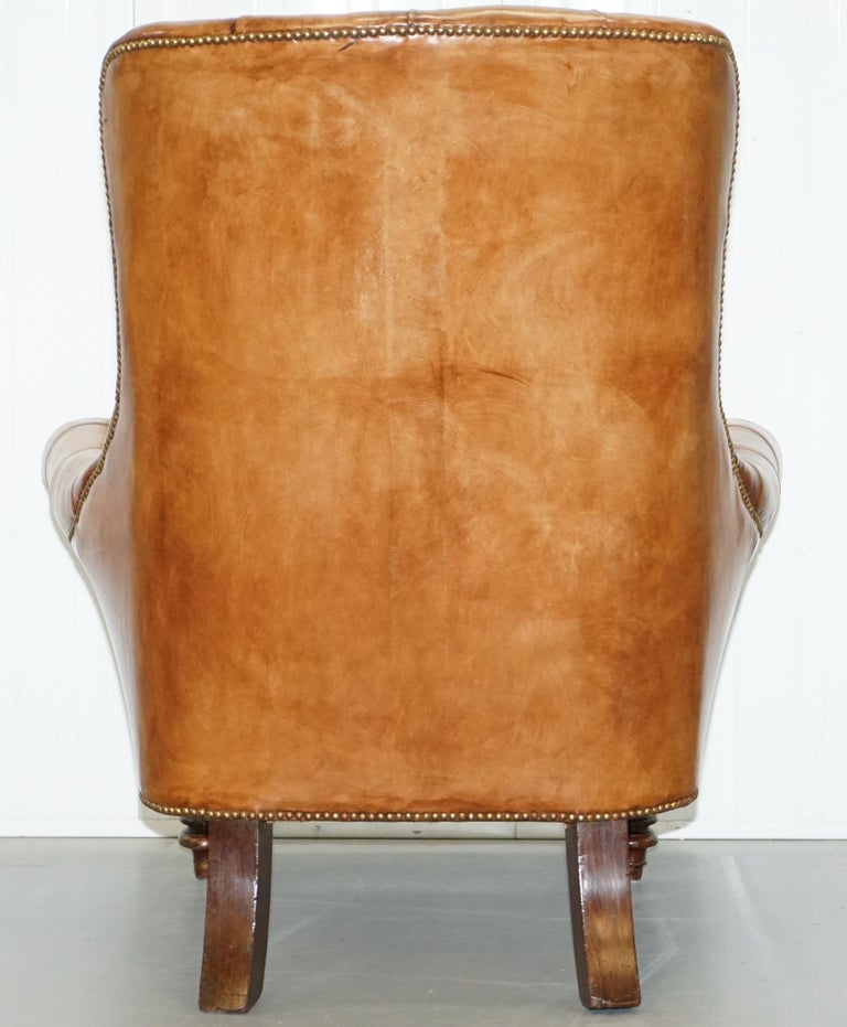 Huge Restored Chesterfield Aged Brown Leather Victorian Library Reading Armchair For Sale 9