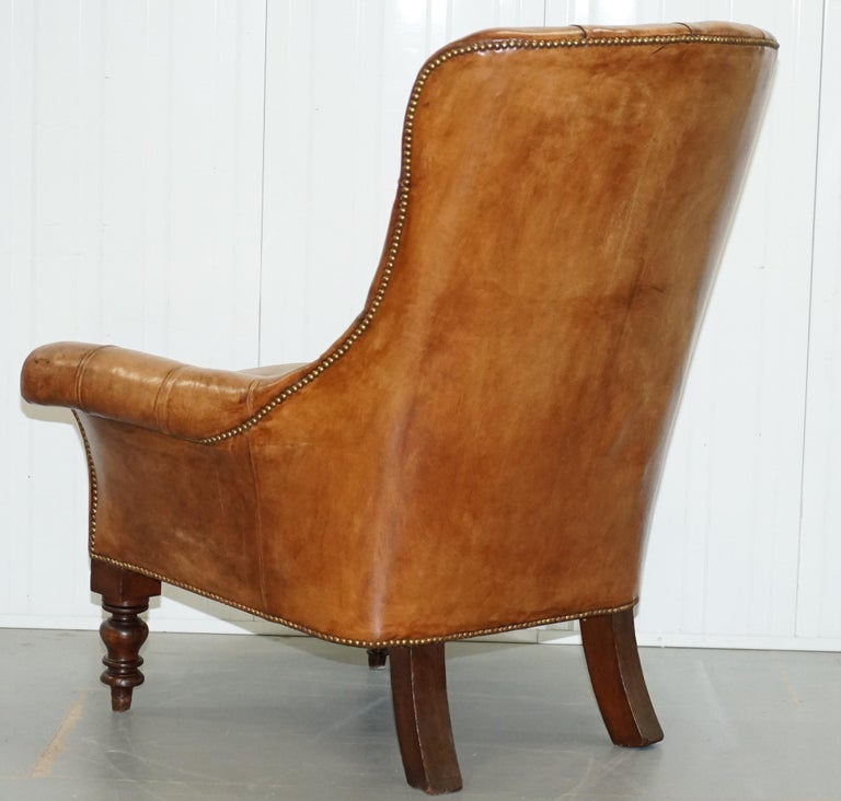 Huge Restored Chesterfield Aged Brown Leather Victorian Library Reading Armchair For Sale 10