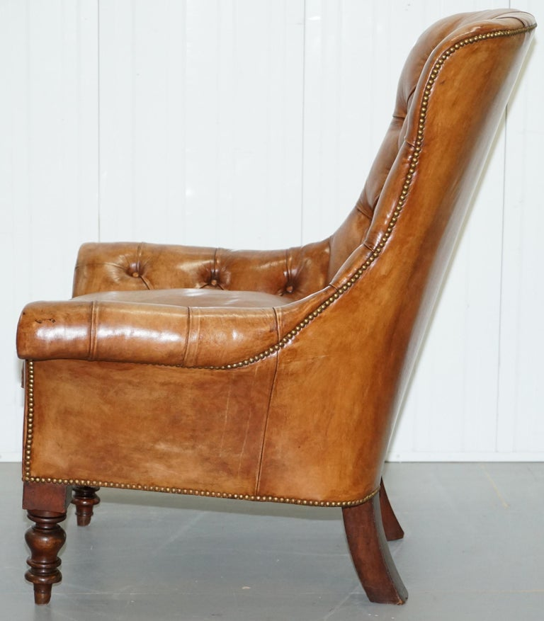 Huge Restored Chesterfield Aged Brown Leather Victorian Library Reading Armchair For Sale 11
