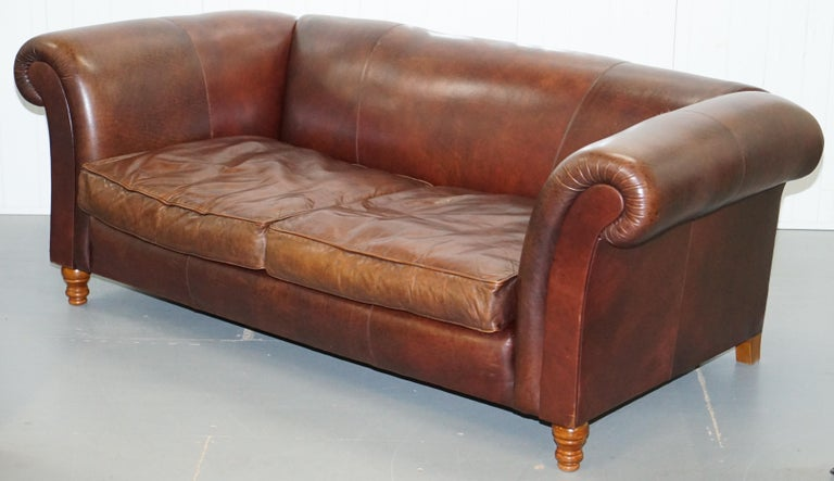 Modern Large Buffalo Vintage Brown Leather Sofa Feather Filled Cushions Coil Sprung For Sale