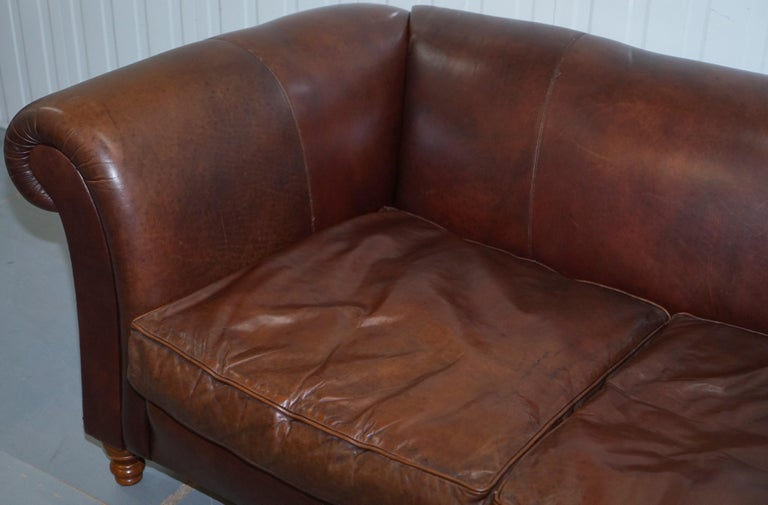 Hand-Crafted Large Buffalo Vintage Brown Leather Sofa Feather Filled Cushions Coil Sprung For Sale
