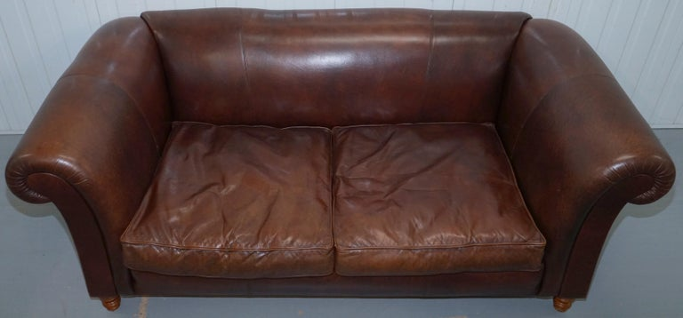 Large Buffalo Vintage Brown Leather Sofa Feather Filled Cushions Coil Sprung In Good Condition For Sale In London, GB