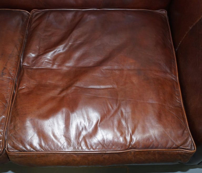 Contemporary Large Buffalo Vintage Brown Leather Sofa Feather Filled Cushions Coil Sprung For Sale
