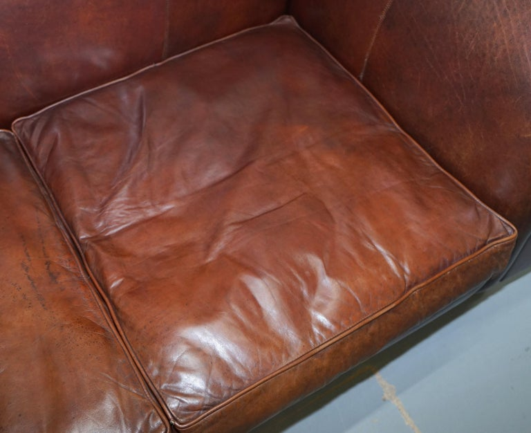 Large Buffalo Vintage Brown Leather Sofa Feather Filled Cushions Coil Sprung For Sale 1