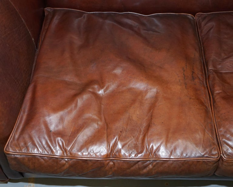 Large Buffalo Vintage Brown Leather Sofa Feather Filled Cushions Coil Sprung For Sale 2