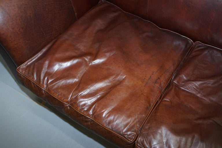 Large Buffalo Vintage Brown Leather Sofa Feather Filled Cushions Coil Sprung For Sale 3