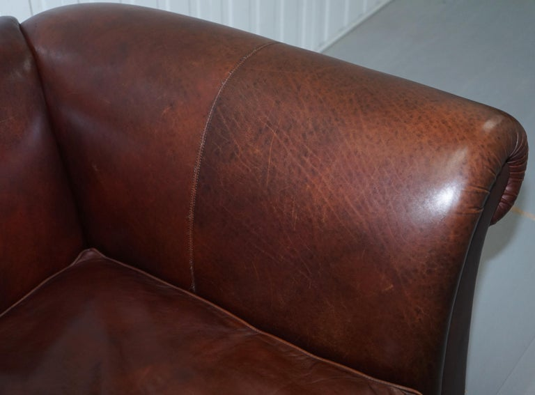 Large Buffalo Vintage Brown Leather Sofa Feather Filled Cushions Coil Sprung For Sale 4