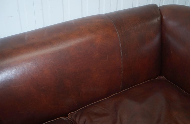Large Buffalo Vintage Brown Leather Sofa Feather Filled Cushions Coil Sprung For Sale 5