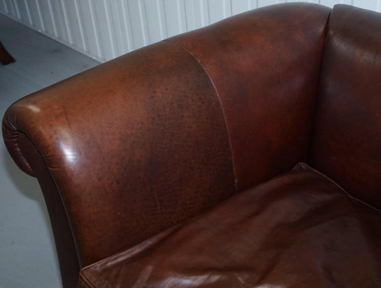 Large Buffalo Vintage Brown Leather Sofa Feather Filled Cushions Coil Sprung For Sale 7