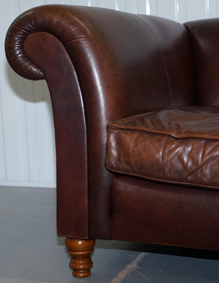 Large Buffalo Vintage Brown Leather Sofa Feather Filled Cushions Coil Sprung For Sale 8