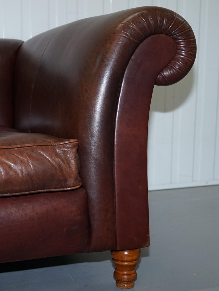 Large Buffalo Vintage Brown Leather Sofa Feather Filled Cushions Coil Sprung For Sale 10