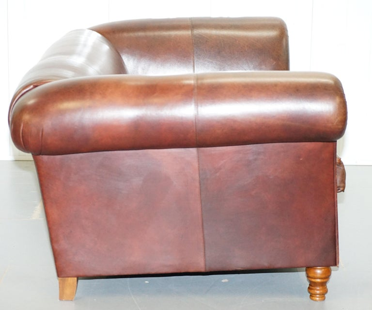 Large Buffalo Vintage Brown Leather Sofa Feather Filled Cushions Coil Sprung For Sale 12
