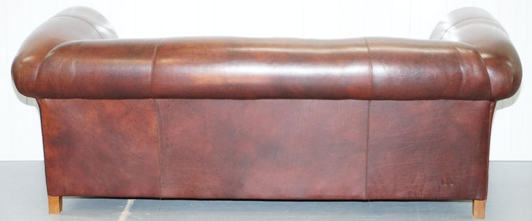 Large Buffalo Vintage Brown Leather Sofa Feather Filled Cushions Coil Sprung For Sale 13