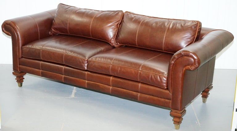 American Colonial Stunning Ralph Lauren Thick Brown Leather Three Seat Sofa For