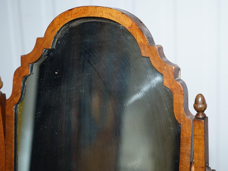 Stunning Georgian Cheval Table Top Toilet Dressing Walnut Plate Mirror For 1