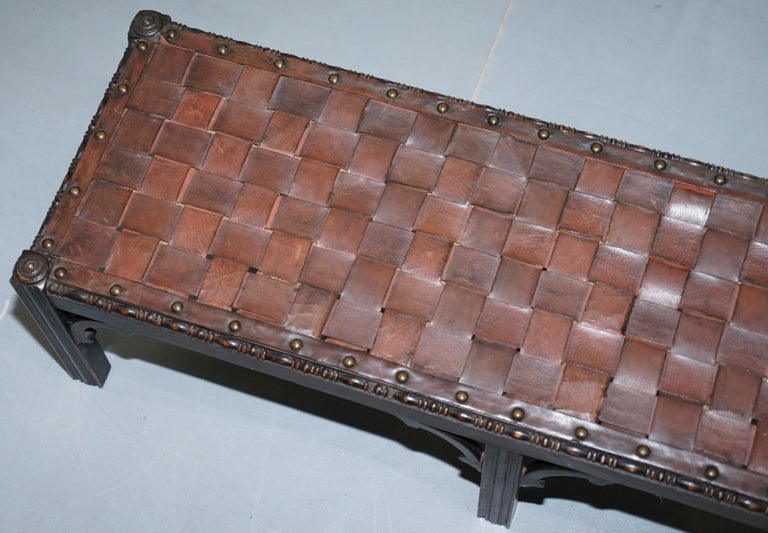 Hand-Crafted Small Early 19th Century Leather Woven Bench Style Footstool Hand-Carved Wood For Sale