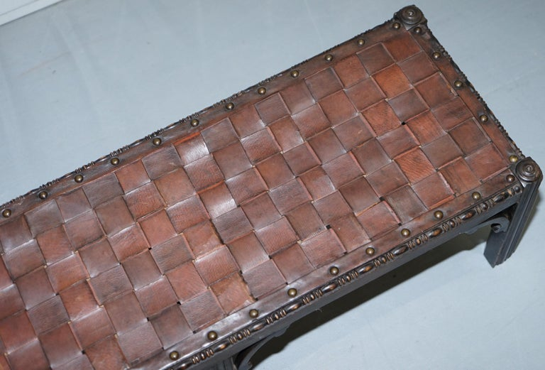Small Early 19th Century Leather Woven Bench Style Footstool Hand-Carved Wood In Good Condition For Sale In London, GB