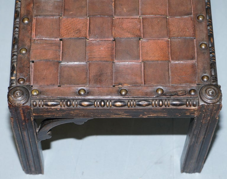 Small Early 19th Century Leather Woven Bench Style Footstool Hand-Carved Wood For Sale 1