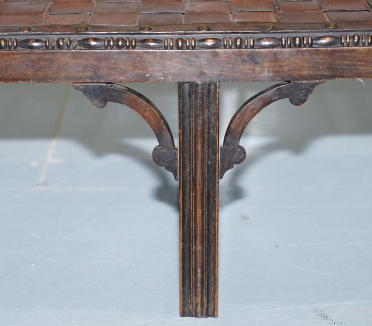 Small Early 19th Century Leather Woven Bench Style Footstool Hand-Carved Wood For Sale 4