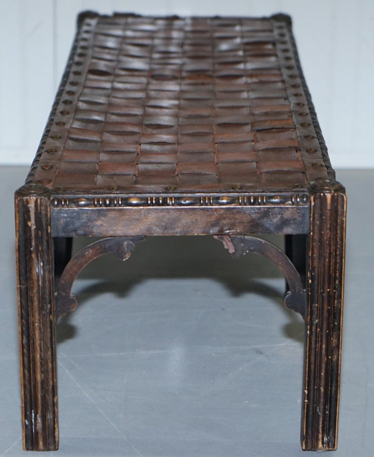 Small Early 19th Century Leather Woven Bench Style Footstool Hand-Carved Wood For Sale 6