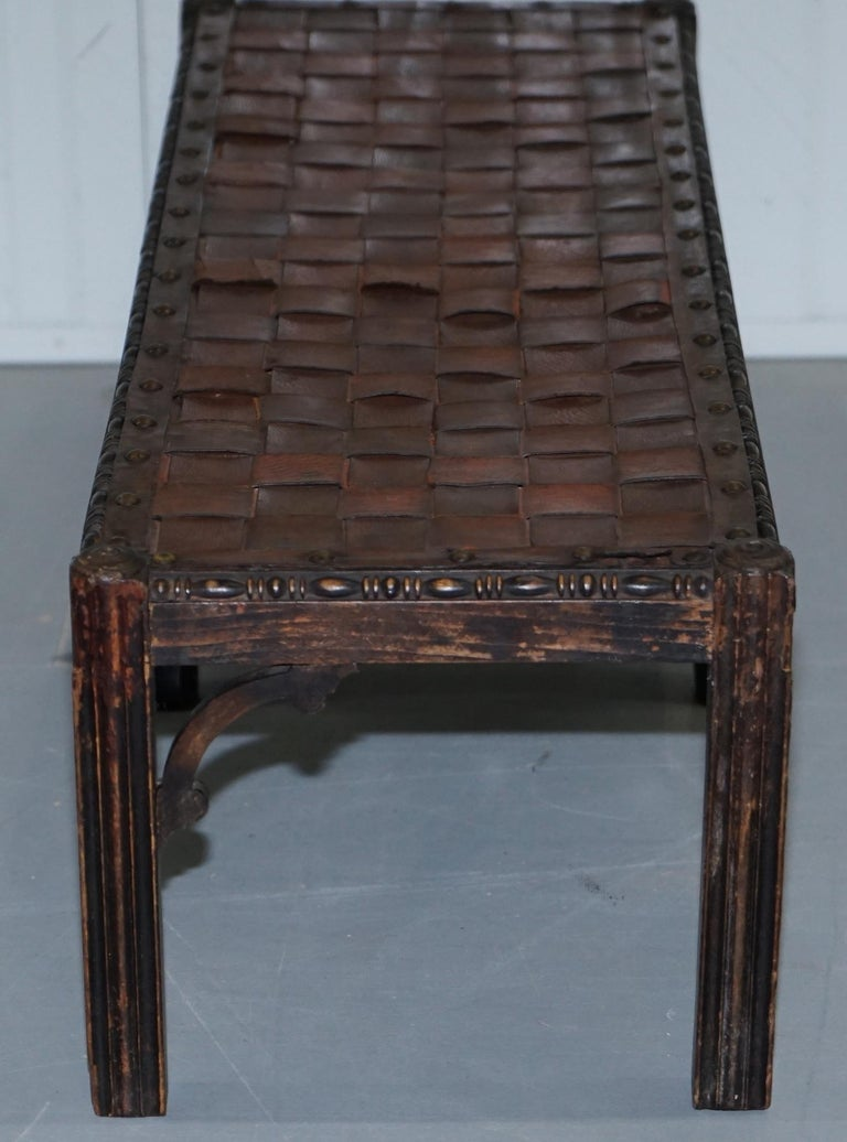 Small Early 19th Century Leather Woven Bench Style Footstool Hand-Carved Wood For Sale 11
