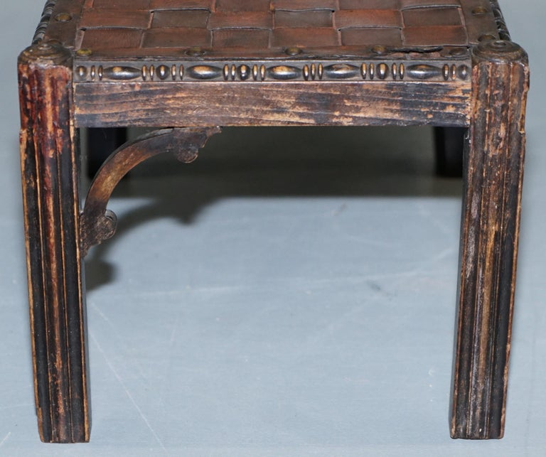 Small Early 19th Century Leather Woven Bench Style Footstool Hand-Carved Wood For Sale 12