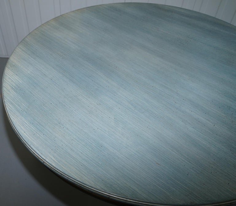 Lovely Vintage Blue Round Dining Occasional Centre Table to Seat Four People For Sale 1