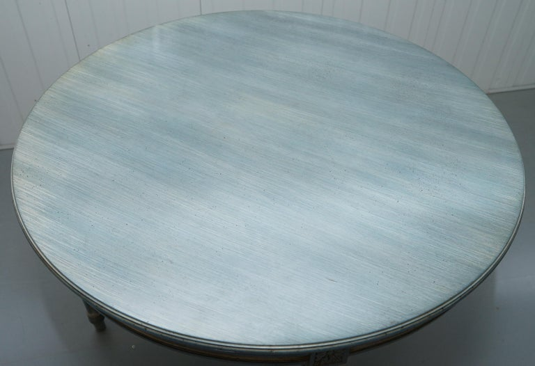 Lovely Vintage Blue Round Dining Occasional Centre Table to Seat Four People For Sale 2
