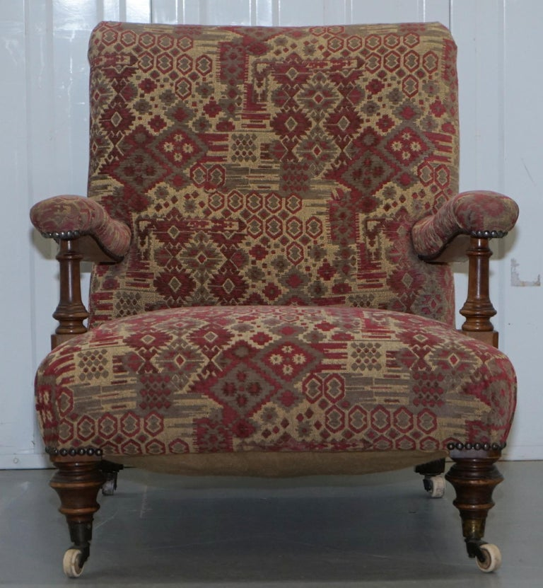 English Rare Victorian Walnut Framed Kilim Upholstered Howard Library Reading Armchair For Sale