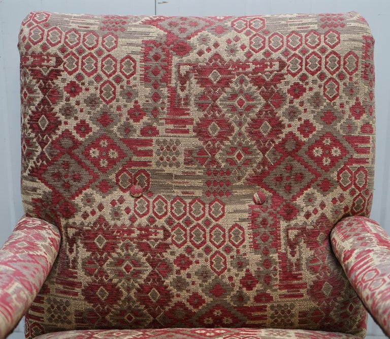 Hand-Carved Rare Victorian Walnut Framed Kilim Upholstered Howard Library Reading Armchair For Sale
