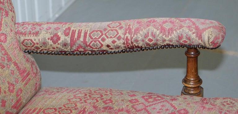 Rare Victorian Walnut Framed Kilim Upholstered Howard Library Reading Armchair For Sale 2