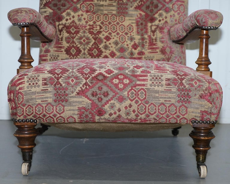 Rare Victorian Walnut Framed Kilim Upholstered Howard Library Reading Armchair For Sale 3