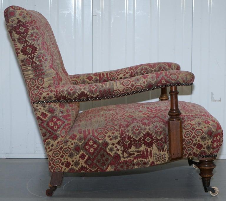 Rare Victorian Walnut Framed Kilim Upholstered Howard Library Reading Armchair For Sale 7