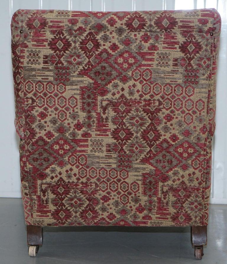 Rare Victorian Walnut Framed Kilim Upholstered Howard Library Reading Armchair For Sale 8