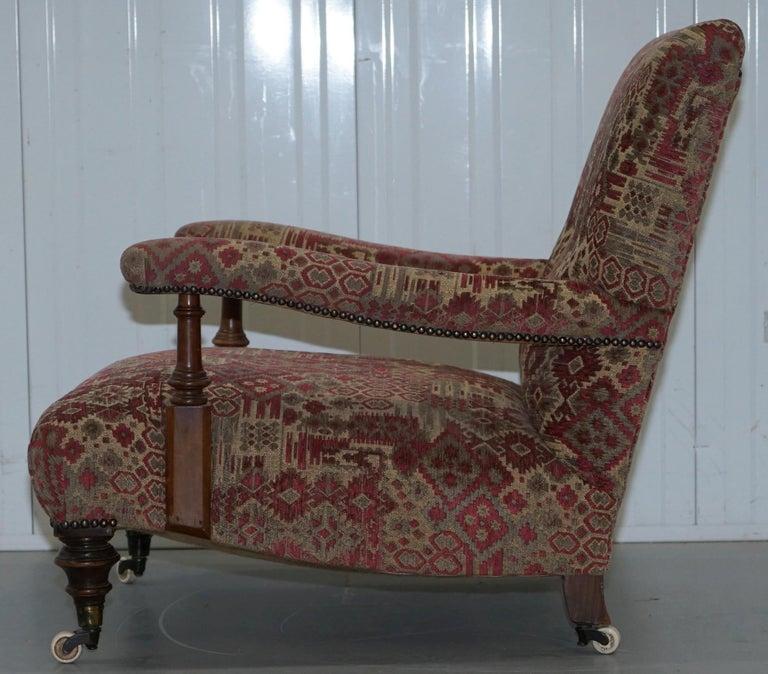 Rare Victorian Walnut Framed Kilim Upholstered Howard Library Reading Armchair For Sale 9