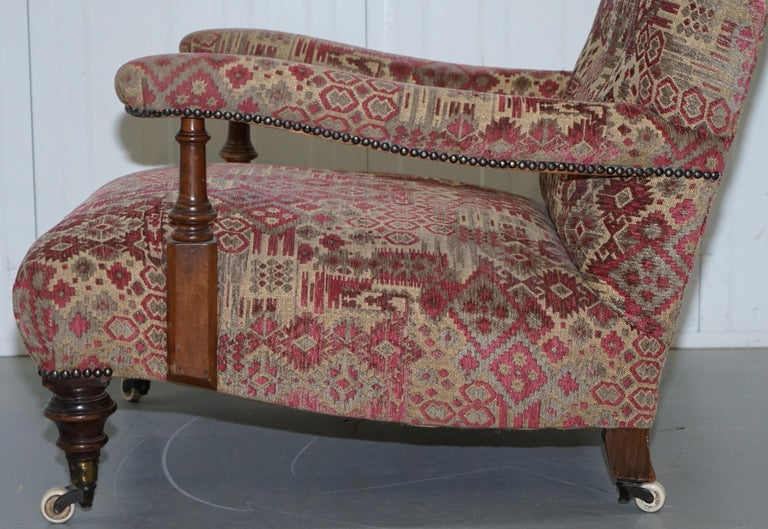 Rare Victorian Walnut Framed Kilim Upholstered Howard Library Reading Armchair For Sale 10