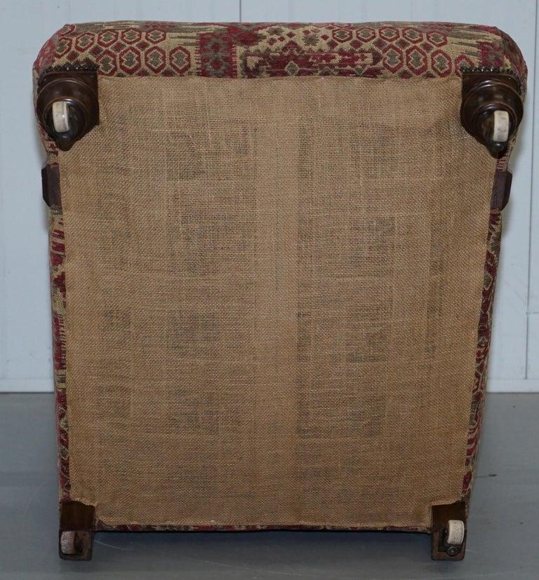 Rare Victorian Walnut Framed Kilim Upholstered Howard Library Reading Armchair For Sale 11