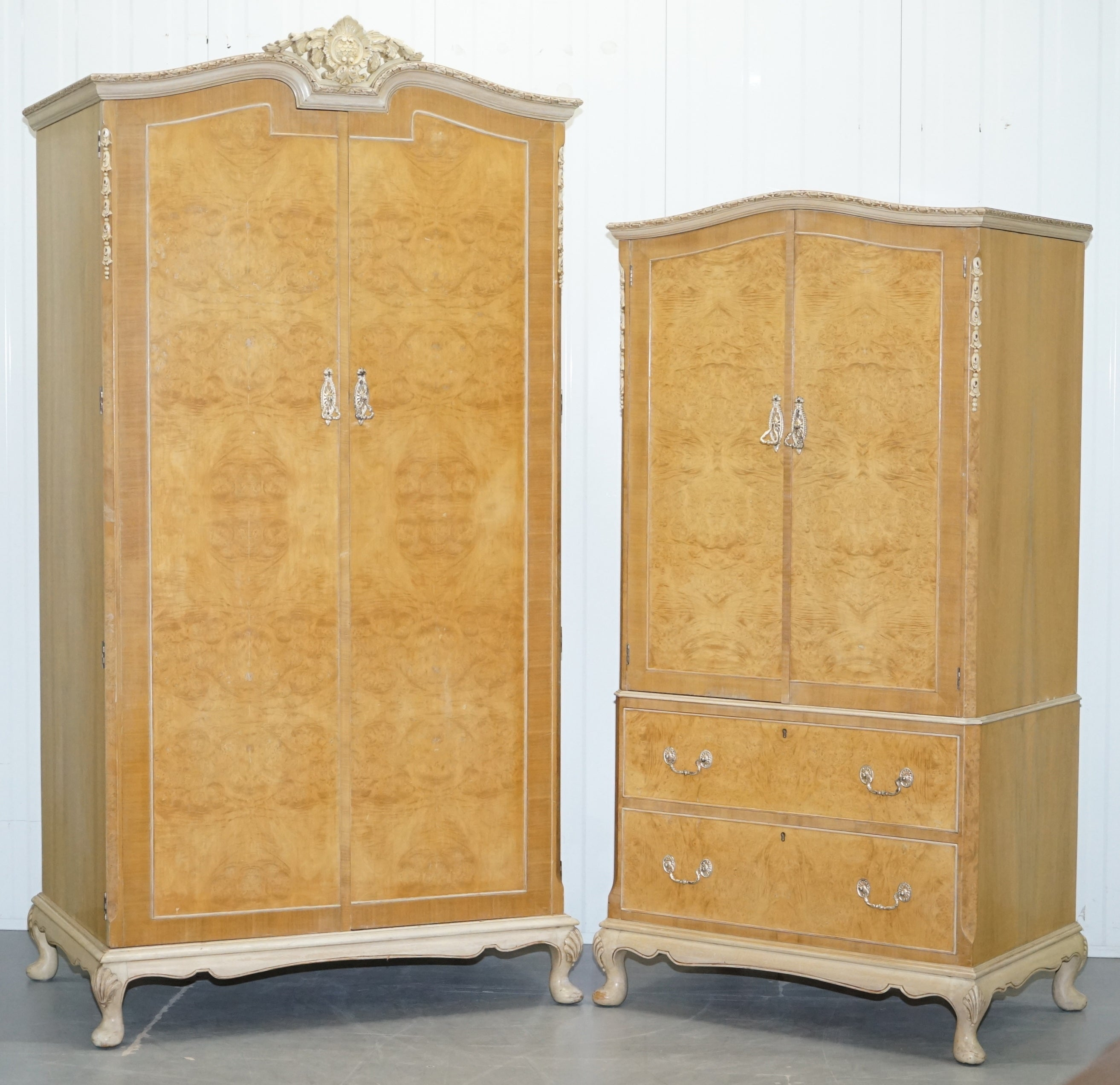 Small Tall Maple And Co Art Deco 1930 S Burr Walnut Armoire Wardrobe Drawers For At 1stdibs